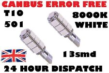 2 x 8000K ERROR FREE CANBUS W5W T10 501 LED Lato Lampadina 13 SMD Xenon Bianco