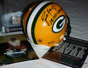 42876a5cc BRETT FAVRE 4 AUTOGRAPHED SIGNED GREEN BAY PACKERS SB XXXI Champs ...