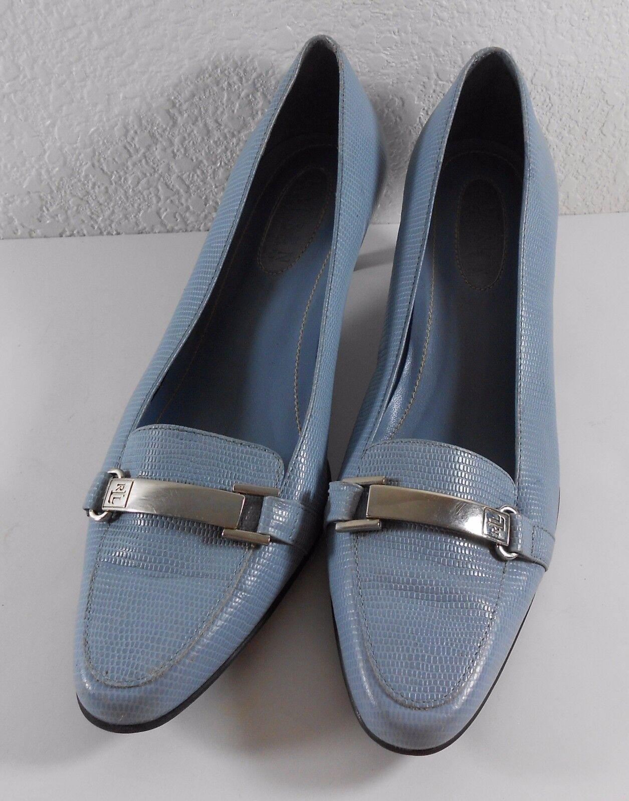 Lauren Ralph Lauren Megan 7 1/2 B Heels Light Blue Leather Kitten Heels B Shoes Brazil fc1243