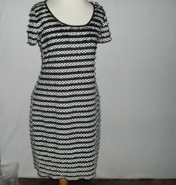 Darling Sweet & Sexy Ronni Nicole Wiggle Dress Ruched White Black Dots Size 8