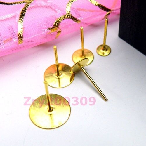 Gold Plated Flat Pad Earring Post 4mm,6mm,8mm,10mm R0068
