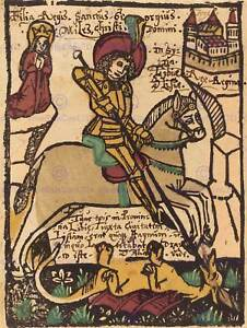 GERMAN-15TH-CENTURY-SAINT-GEORGE-OLD-ART-PAINTING-POSTER-PRINT-BB5488B