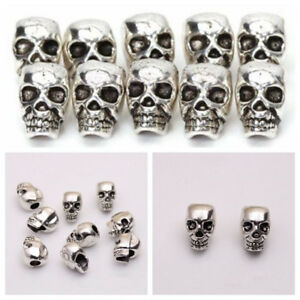 10-PCS-Antique-Silver-Skull-Head-Spacer-Beads-Jewelry-Bracelet-Findings-4mm-Hole
