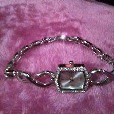 Gorgeous Silver Plated Bracelet Women's Watch w/ Opal & Crystal Face Plate
