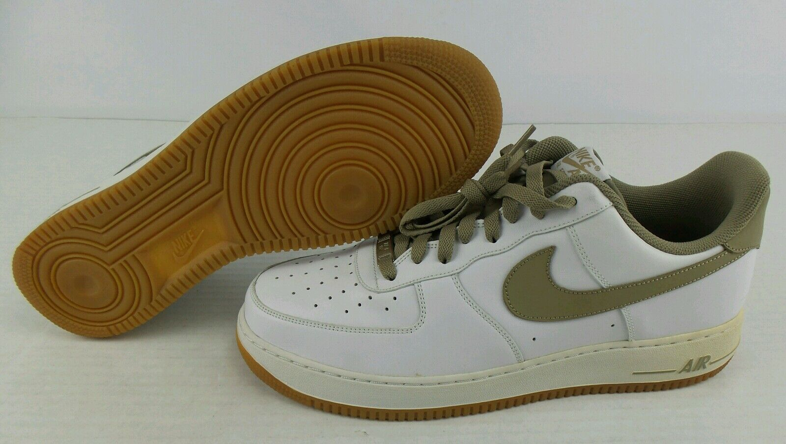 NEW Vintage 2018 Nike Air Force 1 Low Premium  Khaki-Gum Shoes Size Mens 13