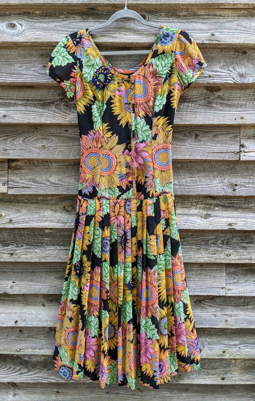 Vtg 90's Midi Dress Sunflowers RARE! Sundress Flo… - image 3