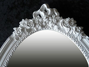 Frame-without-Mirror-Cottage-Antique-Baroque-White-Shabby-Flowers-Motif-Oval