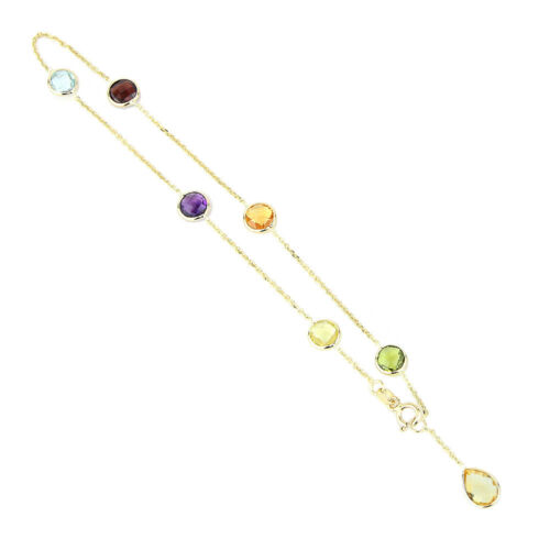 14K Yellow Gold Gemstone Anklet With A Lemon Topaz Pear Shape Drop 9.5 Inches