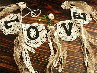 Wedding LOVE Burlap Banner Vtg. Lace Bunting SHABBY Ribbon Chic Rosettes Cream