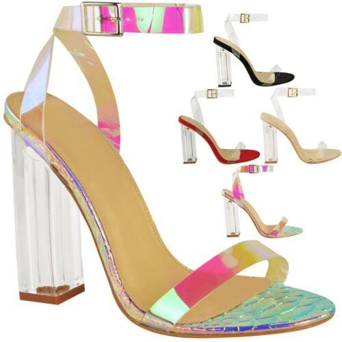 Womens Ladies High Heels Sandals Hologram Perspex Clear Block Heel Party Shoes