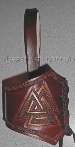Large LARP SCA Leather Horn Frog for Drinking Horns with Tooled Odin/'s valknut