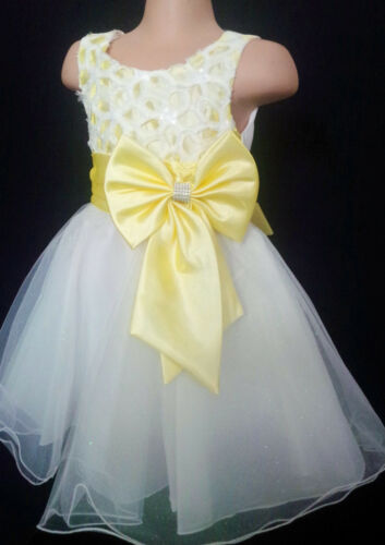 Yellow White Flower Girl Bridesmaid Wedding Easter Prom Blingy Party Dress 2-13y