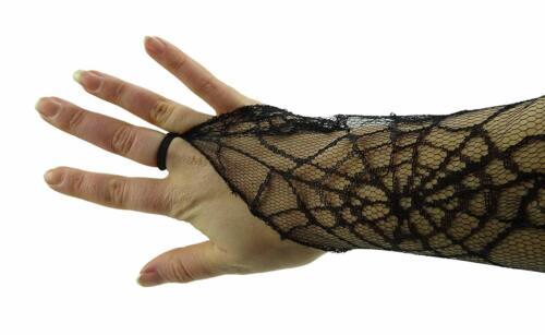 MI15-NEW Long Black Gothic Sheer Netted Gloves