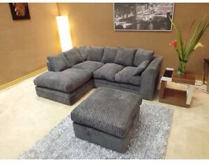 Image Is Loading Jumbo Cord Charcoal Grey Corner Sofa With Matching