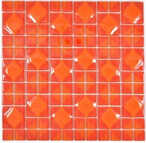 Mosaik-Fliese-Transluzent-rot-3D-Red-Dot-Design-Kueche-Wand-BAd-WC-68-0925