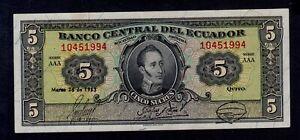 ECUADOR-5-SUCRES-1953-PICK-98a-XF