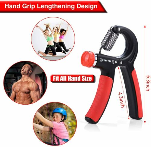 Hand Grip Strengthener Hand Wrist Forearm Trainer Exerciser Adjustable 22~88 Lbs