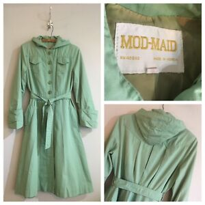 True-Vintage-1960s-Mod-Maid-Mint-Trench-Coat-Duster-Jacket-UK8-10-Small