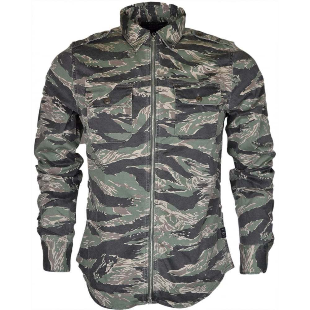 Replay Regular Fit Printed Zip Cotton Camo Overshirt       | Lebhaft und liebenswert  00ee50