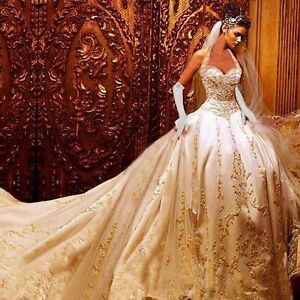 Details About Luxury Embroidery Gold Wedding Dresses Ball Gown Beading Bridal Gown Custom Made
