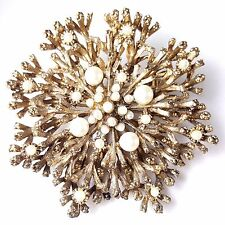 Vintage Large Brooch Pin Snowflake Flower Pearl Cluster Gold Tone BN46