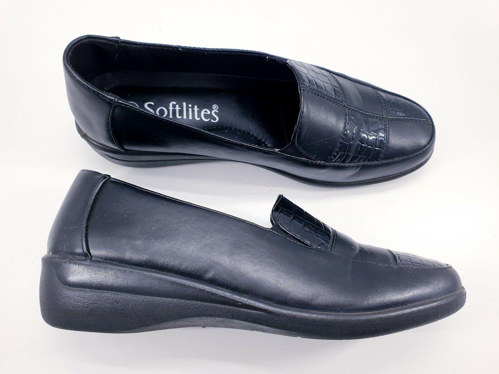 Softlites size 7 (40) black faux leather slip on wedge heel comfort loafers