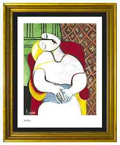 Pablo-Picasso-Signed-amp-Hand-Numbered-Ltd-Ed-034-The-Dream-034-Litho-Print-unframed