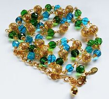 Fashion Jewelry*Gorgeous Joan Rivers Beaded Necklace*Blue*Green*Filigree*Chain