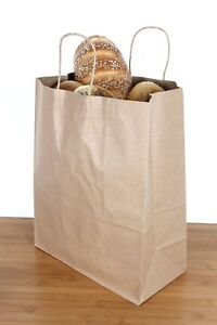 Brown Paper Grocery Bags Handles Kraft Shopping Retail