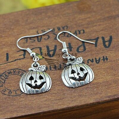 FREE GIFT BAG Silver Plated Halloween Pumpkin Drop Dangle Earrings Jewellery