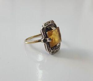 Ring   Citrin /& Perlen   925er Silber   # 57   ART DECO STIL