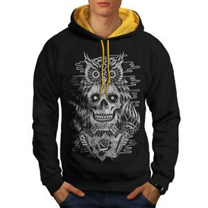 Head New Contrast Owl Skull Hoodie Face Dead Men gold Black Hood 5qXaaTw0