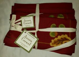 Williams-Sonoma-Fall-Thanksgiving-Acorn-Crewel-Placemats-amp-Napkins-NWT-Set-of-4