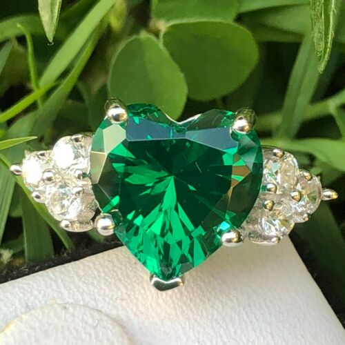 Emerald Ring jewelry Heart shape simulated Emerald Engagement Ring 925 silver