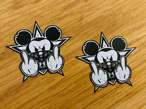 MICKEY-MAUS-THE-FINGER-2-Stk-Aufkleber-Sticker-Mouse-Disney-Gangster-Tuning-JDM