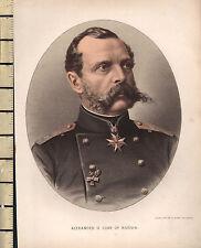 c1890 ANTIQUE PRINT ~ ALEXANDER II CZAR OF RUSSIA