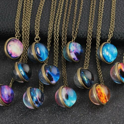 Universe Galaxy System Nebula Space Dome Glass Pendant Glow In The Dark Necklace