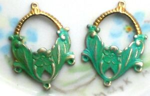 #1006T Vintage brass Connectors Patina Green Blue Chandelier loops Painted Flora