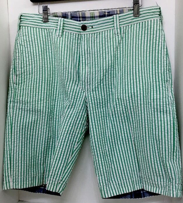 948d2f8b24 Tailor Vintage Shorts Men's bluee Green And White Reversible Bermuda Size 32