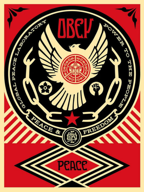 Shepard Fairey PEACE & FREEDOM DOVE 2014 print poster Obey Giant empowerment