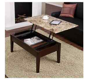 Image Is Loading Faux Marble Lift Top Coffee Table Espresso Modern