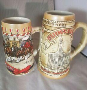2-BUDWEISER-1981-1986-BEER-STEIN-MUG-Ceramarte-Collectible-Chicago-LIMITED-ED