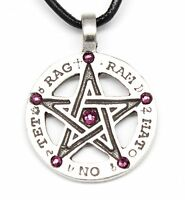 Pewter Pentagram Tetragrammaton Amethyst Crystal February Birthstone Pendant