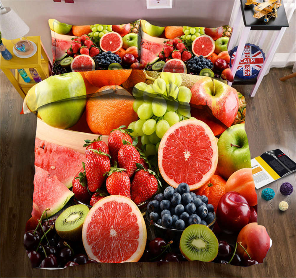 colorful Fruit Salad 3D Printing Duvet Quilt Doona Cover Pillow Case Bedding Set