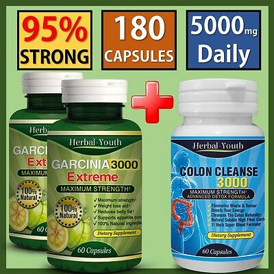 120 Garcinia Cambogia Capsules + 60 Colon Detox Weight Loss Slimming Diet Pills Schnelle Farbe