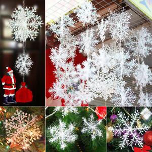 90x-Schneeflocken-11cm-Snowflakes-Weihnachtsbaumdeko-Christbaumschmuck-Aufhaengen
