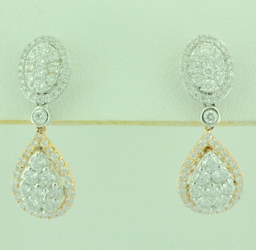 88da8ed9a1b59 gold pink White Solid 14k Natural Diamond pear cluster ct 1.40 ...