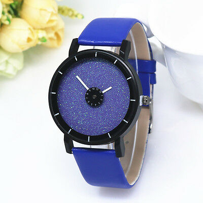 2016 New Women's Sand drill PU Leather Personality dial Leather Bracelet Watch