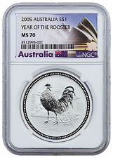 2005 Australia $1 1 oz. Silver Lunar Year of the Rooster - NGC MS70 SKU24323