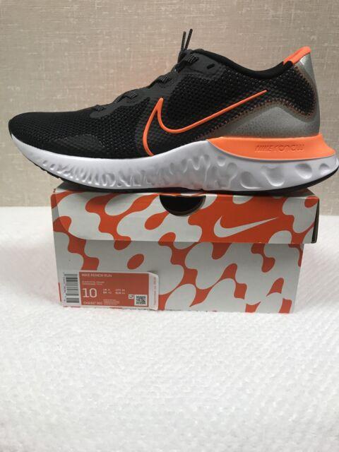 NIKE RENEW RUN Mens Black/Total Orange/White Running/Athletic Shoes Size 10 NIB